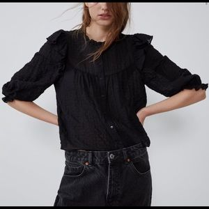 Zara Black Ruffle Blouse